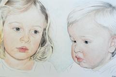 Julia & Tijmen, 2017,Kleurpotlood/Buntstift/crayon. Client: private