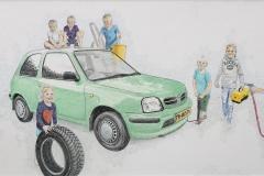 Omas-auto-Kikker-met-al-haar-kleinkinderen